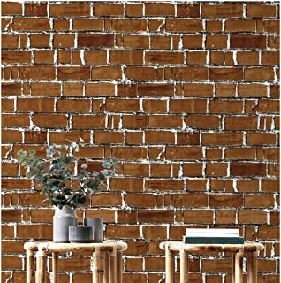 Hopeak Red Brick Wallpaper, Good for Home and Dormitory Decoration (17.7 x 118 Inch)