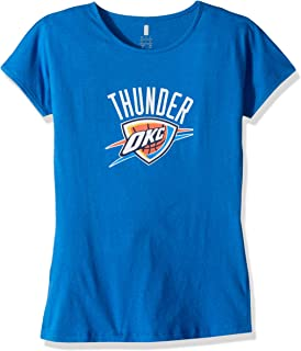 Outerstuff NBA NBA Youth Girls Oklahoma City Thunder Primary Logo Short Sleeve Dolman Tee, Strong Blue, Youth Small(7-8)