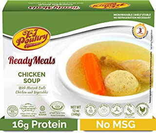 Kosher Mre Meat Meals Ready to Eat, Matzoh Ball Chicken Soup & Vegetables (1 Pack) - Prepared Entree Fully Cooked, Shelf Stable Microwave TV Dinner – Travel, Military, Camping, Emergency Survival Food