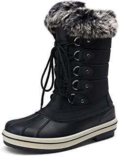 VEPOSE Women's Waterproof Snow Boots Mid Calf Lace Up Fur Shoes