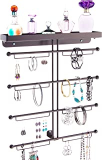 Angelynn's Bracelet Display Wall Mount Jewelry Organizer Earring Holder Necklace Rack Closet Storage Shelf, Carol Rubbed Bronze