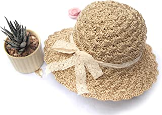 Crochet Baby Sun Hats for Girl - Toddler Straw Sun Hat with Wide Brim Sun Protection and Travel Beach