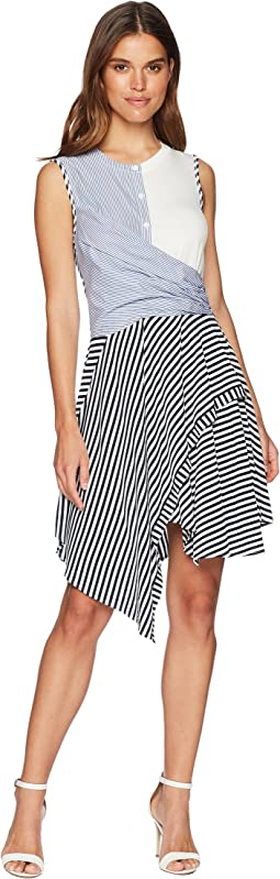 Franka Sleeveless Multi Stripe Twist Front Dress