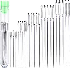 25 Large Eye Stitching Needles - 5 Sizes Big Eye Hand Sewing Needles in Clear Storage Tube