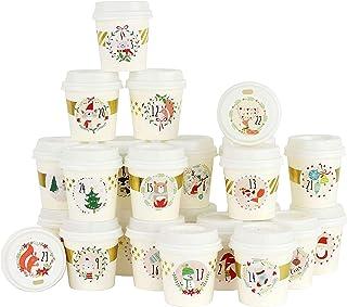 comprar comparacion Papierdrachen Calendario de Adviento DIY en Tazas de café - para Personalizar y Rellenar - Muchas imágenes Decorativas - 2...