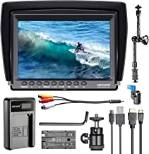 Neewer F100 7-inch 1280x800 IPS Screen Camera Field Monitor Kit: Support 4k input with 2600mAh Rechargeable Li-ion Battery, USB Battery Charger and 11.8-inch Magic Arm for DSLR Camera/Camcorder