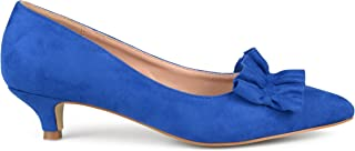Brinley Co. Womens Faux Suede Ruffle Kitten Heels