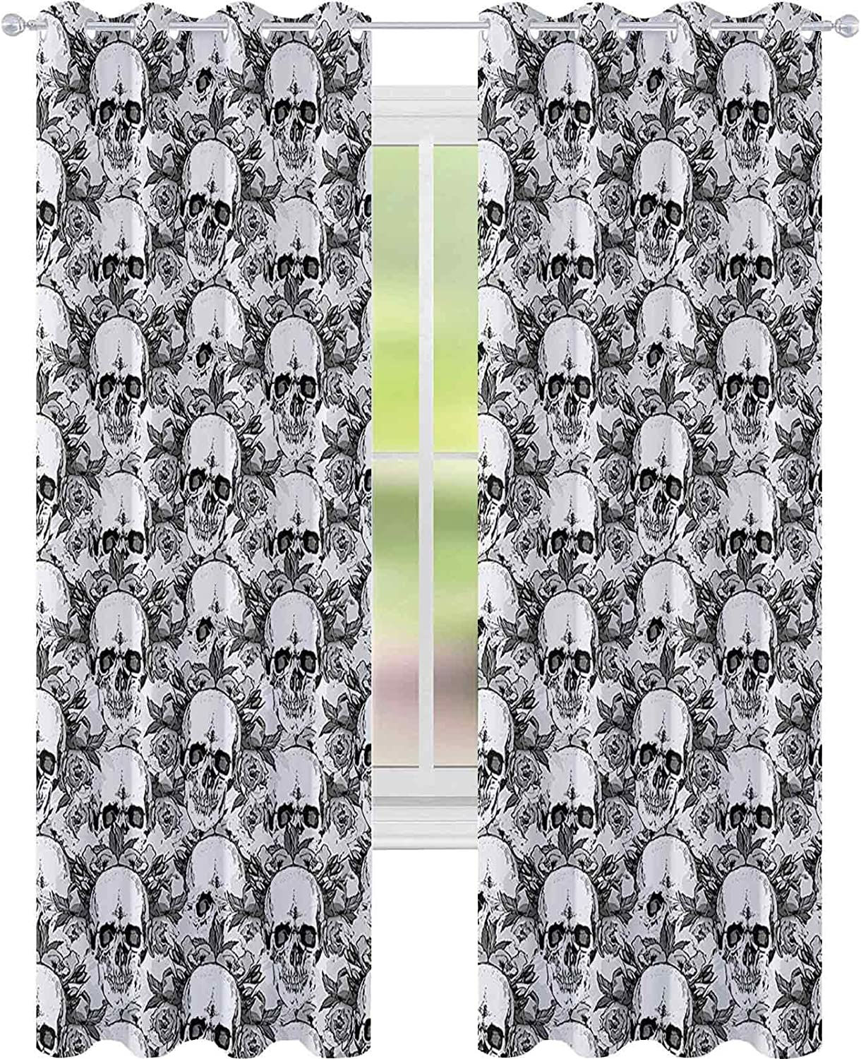 Bedroom Blackout Directly managed store Curtains Skull Skeleton de Dia Print Be super welcome L Pattern