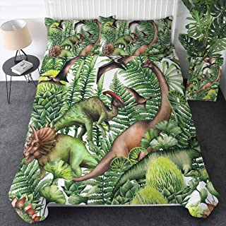 Sleepwish Realistic Watercolor Dinosaurs Bedding Dino in The Forest 3D 3D Cartoon Printed Duvet Cover 3 Pieces Green Jungle Plants Bedspreads (Full)