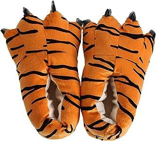 TOOGOO Pantoufles Chaudes Unisexes en Forme de Patte de Tigre Chaussures de Chambre Moelleux Pantoufles d'hiver Chaussures...
