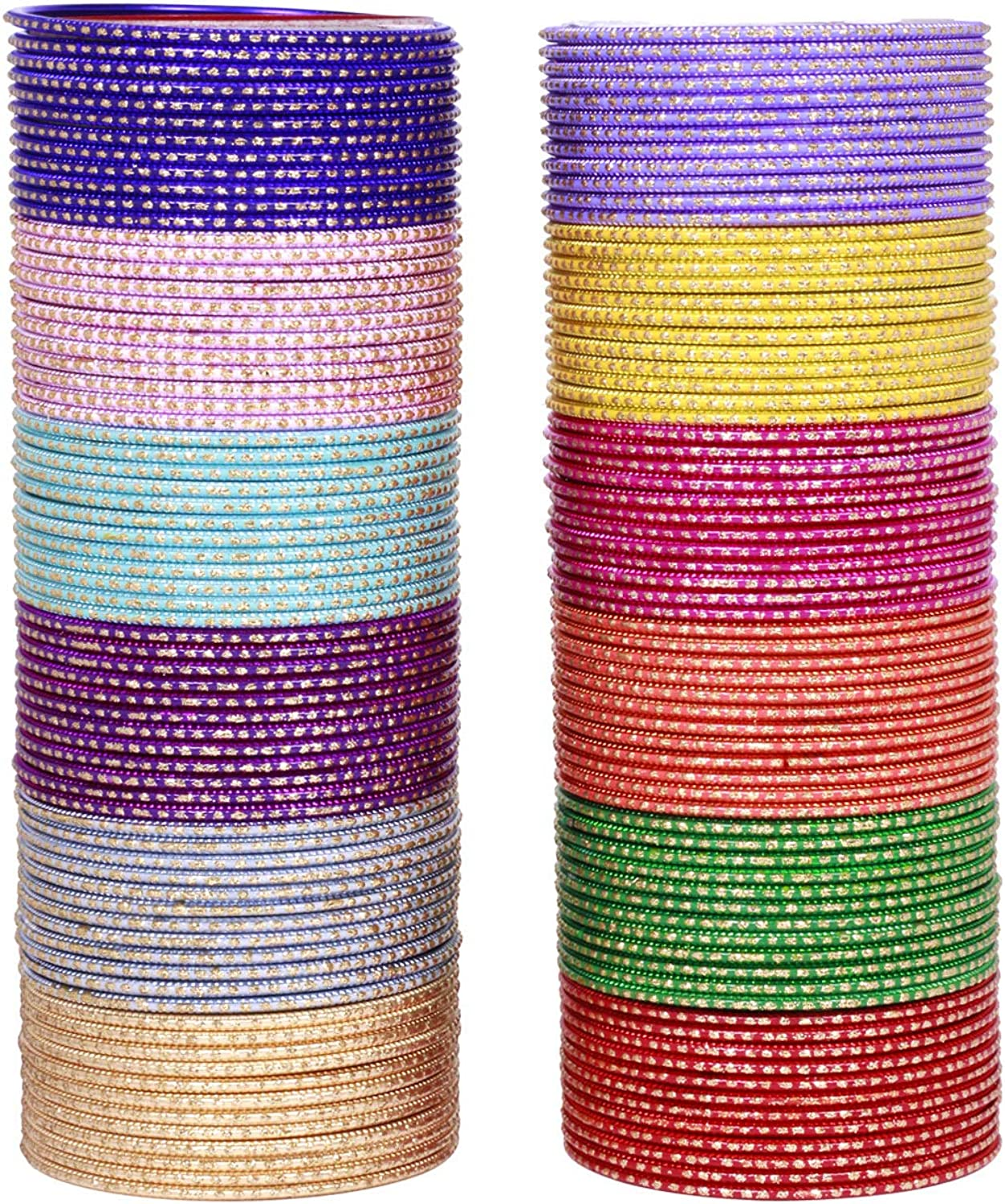 Sukh Collection Jewellery Indian Exclusive Plain Bangles for Wedding & Party Wear Optional Colours for Women & Girls Bollywood Style 144 Pcs Bangle Bracelets Box