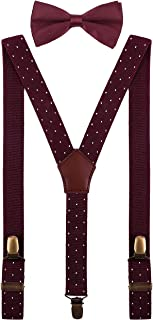 Boys Suspenders and Pre Tied Bow Ties Set Adjustable Strong Clips