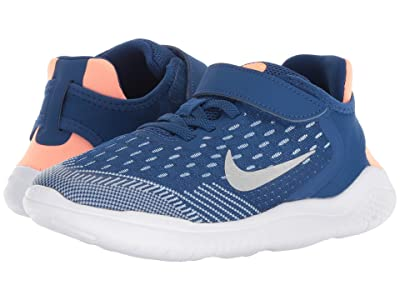 Nike Kids Free RN 2018 (Little Kid) (Gym Blue/Metallic Silver/Cobalt Tint) Girls Shoes