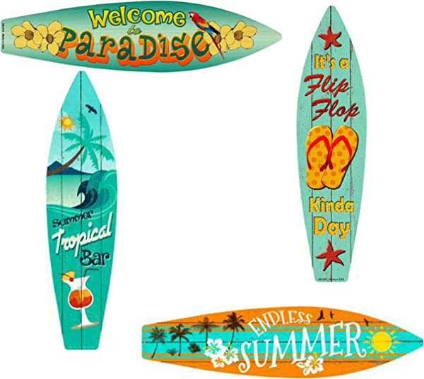 Bundle Home Decor Metal Surfboard Beach Signs Welcome To Paradise Sign Endless Summer Sign Tropical Bar Sign And Flip Flop Sign