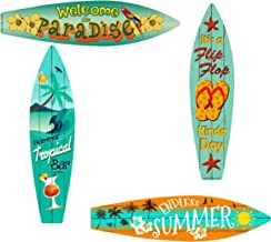 Bundle: Home Decor Metal Surfboard Beach Signs - Welcome to Paradise Sign, Endless Summer Sign, Tropical Bar Sign and Flip...