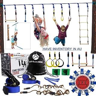 Gentle Booms Sports Ninja Warrior Line Hanging Obstacle Course for Kids Activities- 56ft Slackline Kit, Monkey Bar, Ninjal...