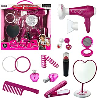 Liberty Imports Fashion Studio Cute Girls Beauty Salon Play Set with Hairdryer, Curling Iron, Mirror and Styling Accessories