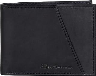 Men's Bi-Fold Wallet, Smooth Marble Crunch Black Leather
