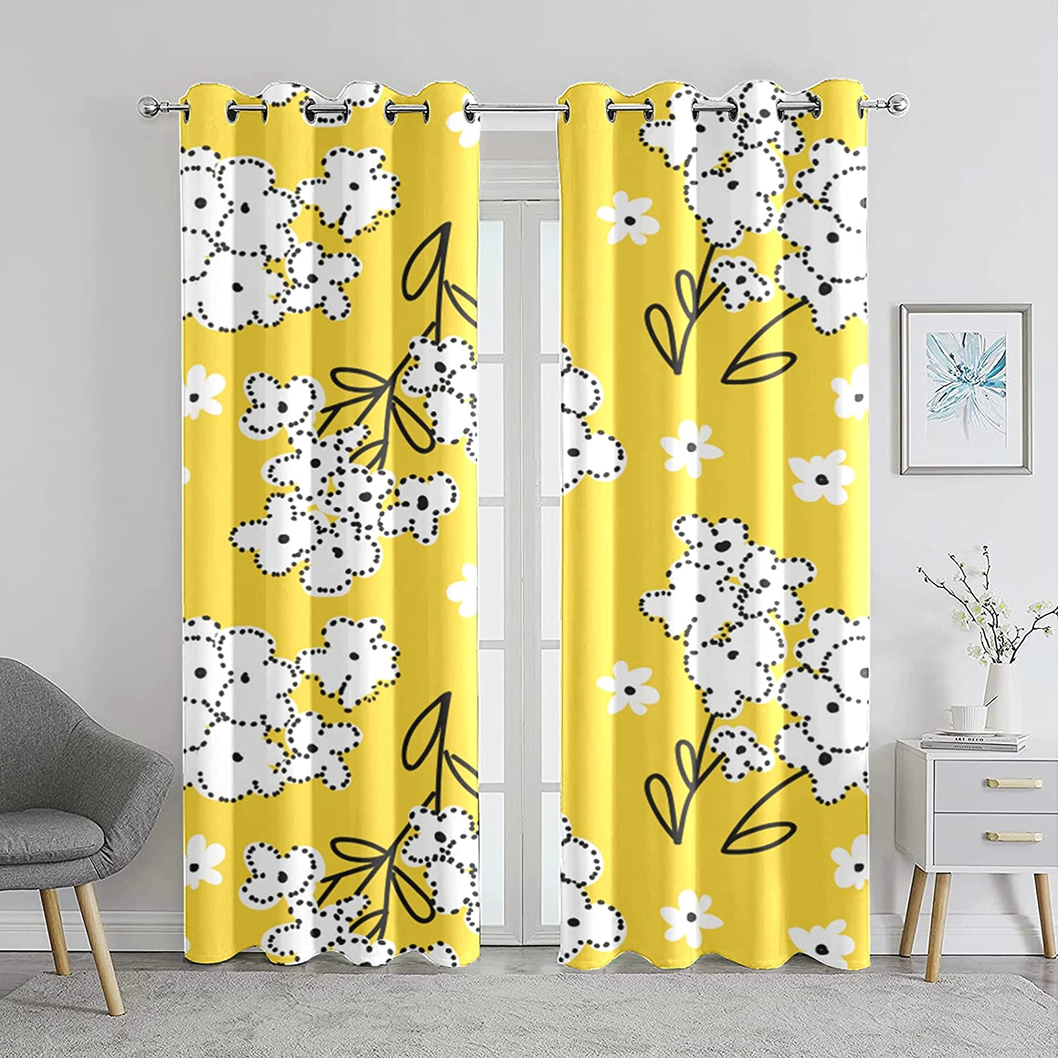 Windows Curtains New product!! Living Room Active Flowers Lovely Black-O OFFicial Sunny