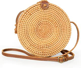 """Handwoven Round Rattan Straw Crossbody Bags for Women 8"""" with Adjustable Two-Layer Genuine Leather Strap with Bonus - Rattan Bracelet"""