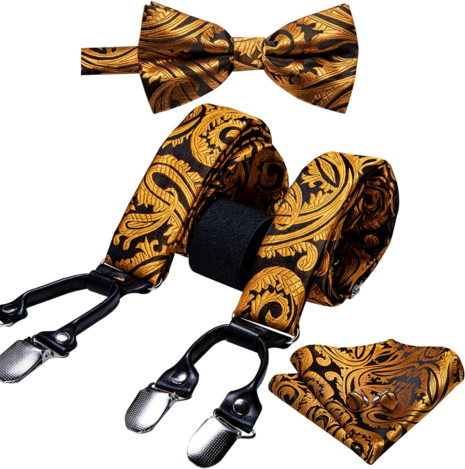 Barry.Wang Men Suspender and Bow Tie Set with Pocket Square Y Type 6 Clips Adjustable Braces