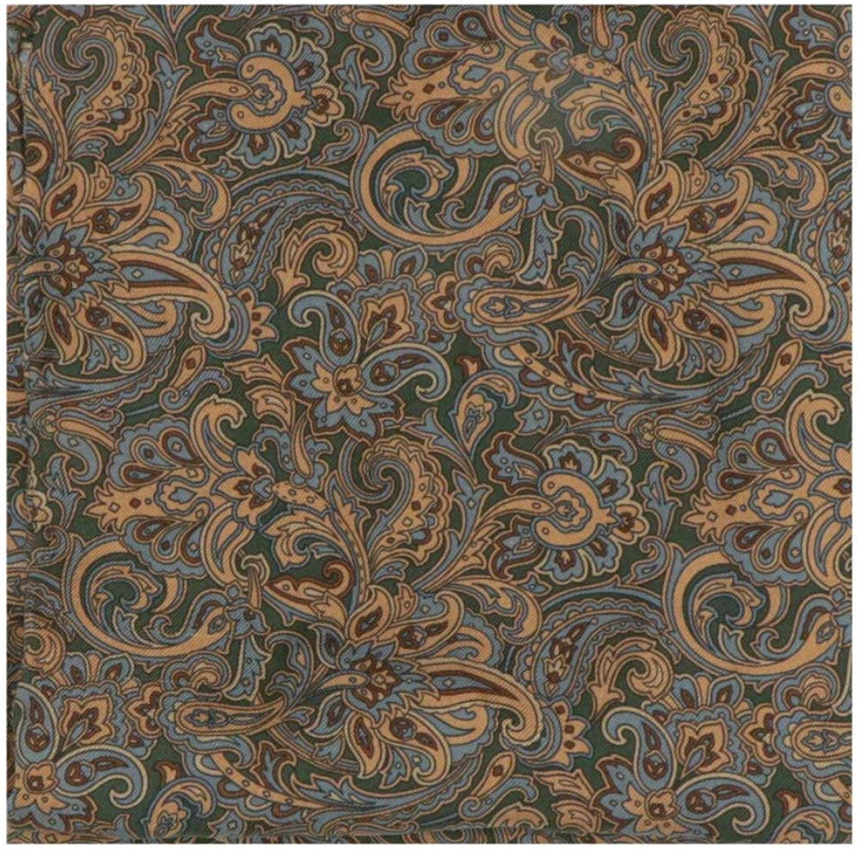 Stefano Ricci Men's Green/Gold Floral Paisley Silk Pocket Square