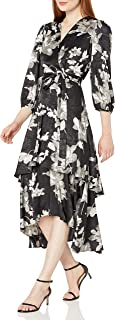Women's Three Quarter Sleeved Faux Wrap Dress with Tiered Skirt