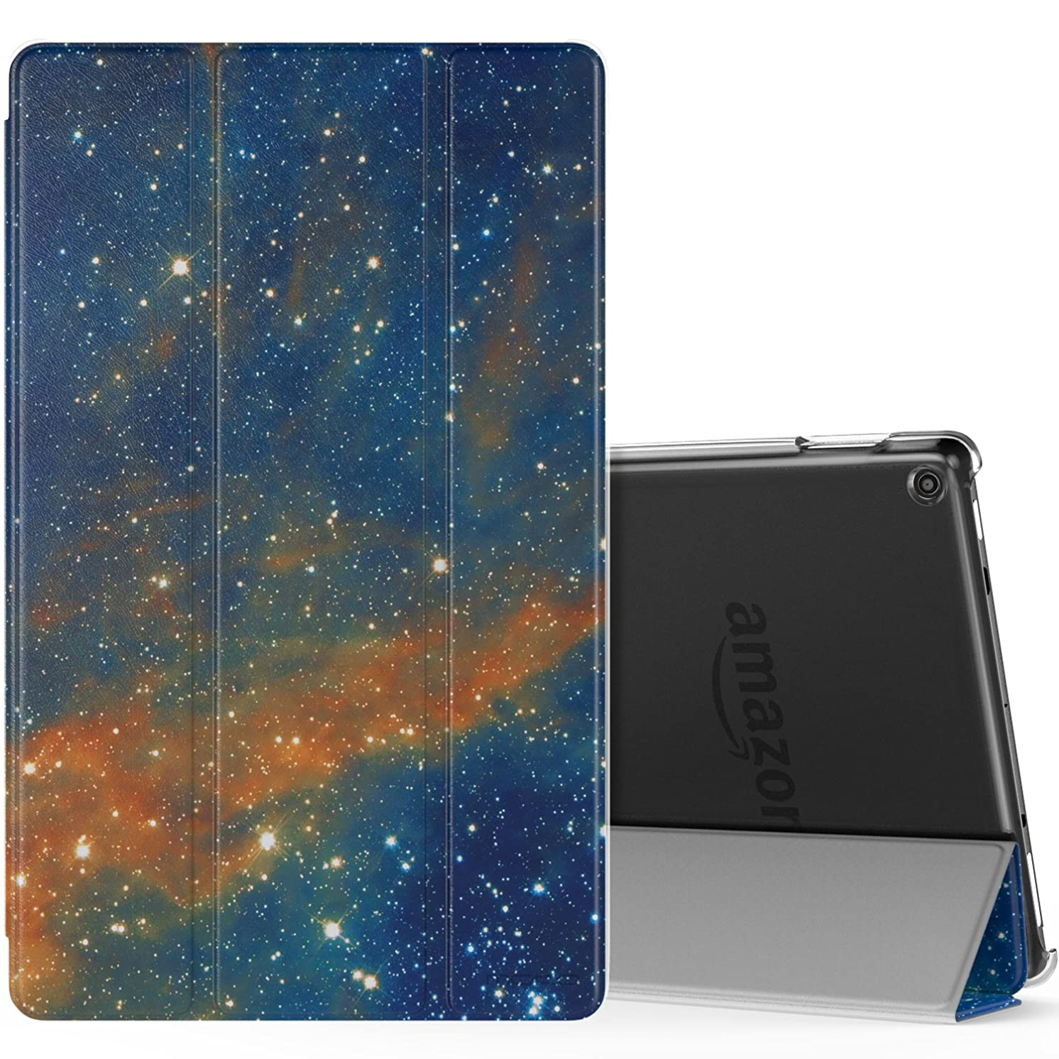 MoKo Case for All-New Amazon Fire HD 10 Tablet (7th Generation, 2017 Release) - Smart Shell Stand Cover with Auto Wake/Sleep & Translucent Frosted Back for Fire HD 10.1 Inch Tablet, Sky Star
