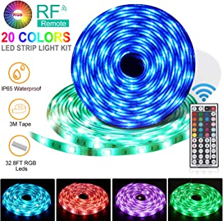 LED Strip Lights, Flykul LED Light Strip 32.8Ft/10M Waterproof RGB SMD 5050 300LEDs Rope Lighting Color Changing Full Kit with 44 Keys RF Remote Controller and DC 12V 5A Power Adapter