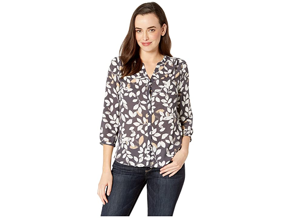 NYDJ Blouse w/ Pleated Back (Morning Frost Vintage Pewter) Women's Blouse, Multi