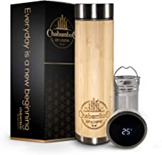 Smart Bamboo Tumbler with Temperature Display   Tea Infuser and Strainer   18oz   by CHABAMBOO   Coffee and Tea Bottle   V...