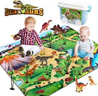 Dinosaur Toy with Activity Play Mat - 11 Educational Realistic Dinosaur Figures Including T-Rex and Triceratops for Creati...