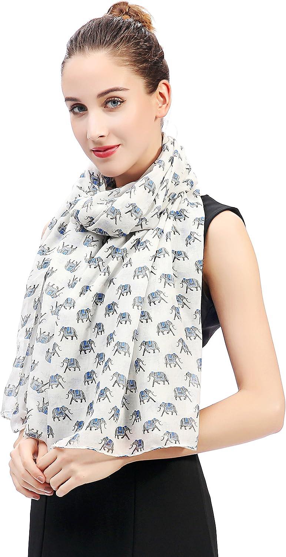 Lina /& Lily Elephant Print Womens Scarf Shawl Wrap Black