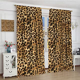 youpinnong Brown Blackout Window Curtain Leopard Print Animal Skin Digital Printed Wild African Safari Themed Spotted Pattern Art Customized Curtains 72