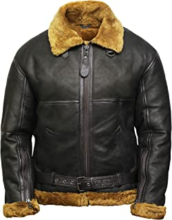 BRANDSLOCK Mens Aviator Flying B3 Real Shearling Sheepskin Leather Bomber Jacket