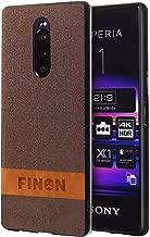 FINON Design Cotton Model [ PC/TPU/Cotton ] for Sony Xperia 1 (2019) Case - Fingerprint Prevention Function and Simple Hybrid case, Cotton Design, Shock Resistance, Lightweight - Brown