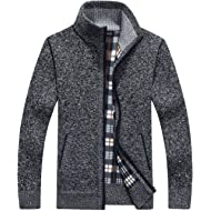 Yeokou Men's Casual Slim Full Zip Thick Knitted Cardigan Sweaters with Pockets