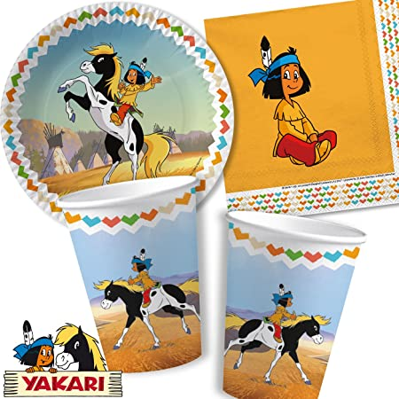 Kit de fête 37pièces «Yakari» avec assiettes, gobelets, serviettes et décorations - pour anniversaire d'enfant, soirée à thème, avec ballons à gonfler