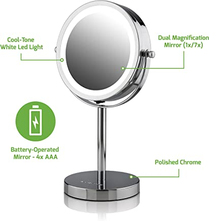 Ovente Lighted Tabletop Makeup Mirror,  6 Inch,  Dual-Sided 1x/7x Magnification,  Cordless,  Operated,  Cool-Tone LED Lights,  Polished Chrome (MLT60CH)