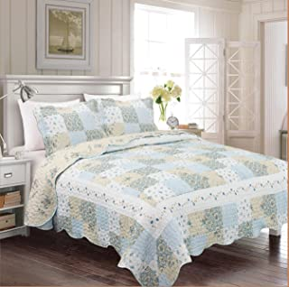 Fancy Collection 3pc Bedspread Bed Cover Floral Off White Blue Beige Reversible New # Mdison (King)