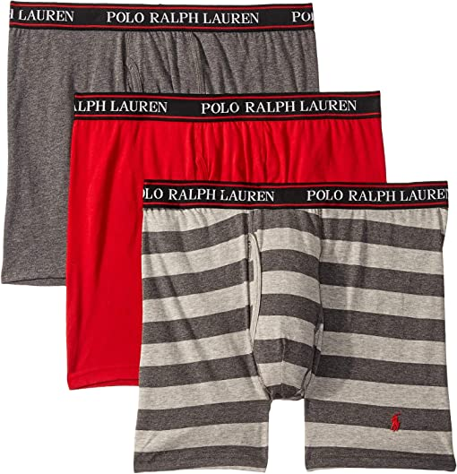 RL2000 Red/Charcoal Heather/Andover Heather Rugby Stripe