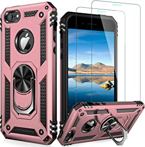 LUMARKE iPhone SE Case(2016),iPhone 5s Case,iPhone 5 Case with Tempered Glass Sreen Protector,Pass 16ft Drop Test Military Grade Cover Protective Phone Case for iPhone 5/5s/SE 2016 Rose Gold