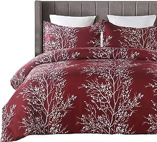 Vaulia Microfiber Duvet Cover Set, Tree Branch Printed Pattern Design - Burgundy Red, King Size