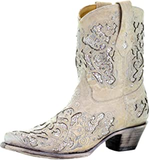 A3550 White Leather Glitter Inlay Ankle Boot with Crystals