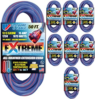 US Wire & Cable 50-Ft 12/3 SJEOW TPE All Weather Extension Cord 8-Pack (Blue, Lighted Plug)