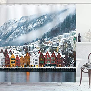 Ambesonne European Cityscape Decor Collection, Winter View of Bruges Norway Northern Mountain Landscape European Print Urban Deco, Polyester Fabric Bathroom Shower Curtain Set with Hooks, Multi