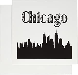 3dRose Chicago City Skyline - Greeting Cards, 6 x 6 inches, set of 12 (gc_157374_2)