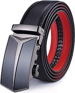 28fa32b165 DCFlat Ceinture pour hommes, ceinture à cliquet en cuir pour hommes, avec  curseur,