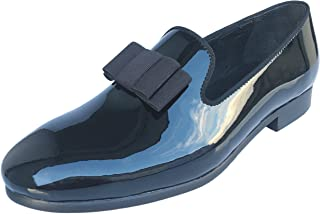 Men's Black Patent Leather Loafers Prom Dress Shoes Tuxedo Bowtie Slip on Smoking Slippers Flats