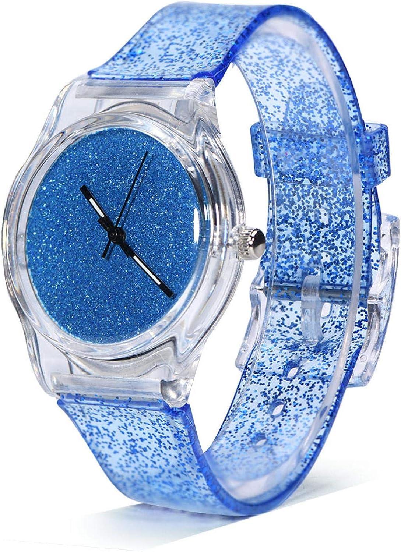 Reloj de cuarzo, reloj de pulsera de cuarzo femenino de 3 colores, correa de plástico redonda, reloj de pulsera en polvo con brillo